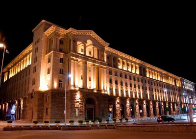 Artistic lighting of the House Of Presidency in Sofia, Bulgaria